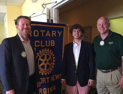 Rotary Club of Newport News Hosts CNU Scholarship Recipient Bruin Richardson