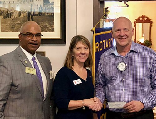 Rotary Club of Warwick @ City Center Newport News' President Presents Donation Check